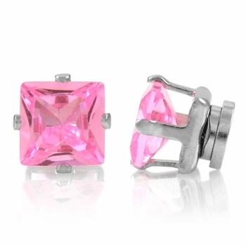 Brinkley's Square Cut CZ Non Pierced Magnetic Earrings - 6mm Pink