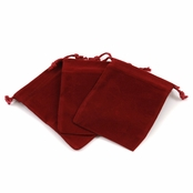 Burgundy Velour Large Gift Pouch Set of 3 - 4 Inches