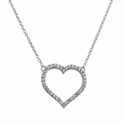 Byron's CZ Pave Heart Charm Necklace
