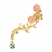 Cadee's Gold Tone and Pink Rose Ear Cuff