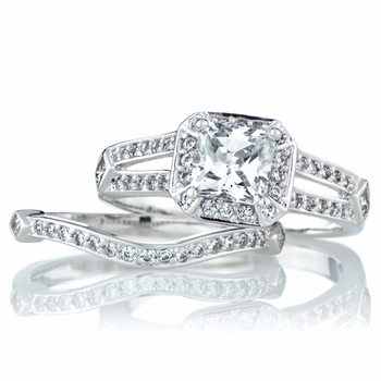 Cadence's Princess Cut CZ Wedding Ring Set