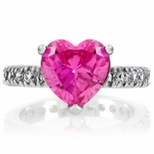 Cailyn's Heart Cut Synthetic Pink Sapphire Ring