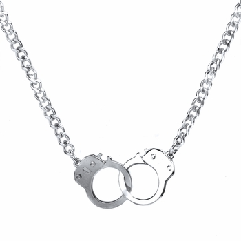 Caine's 22in Stainless Steel Silvertone Handcuff Necklace