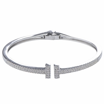 Caitlyn's Silver Plated Cubic Zirconia Bangle Bracelet