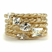 Camber's Set of 5 Gold Tone CZ Rings