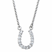 Silver Horseshoe CZ Necklace - Medium