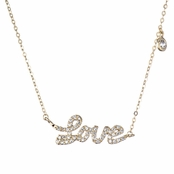 Candice's 18 Inch Gold Plated CZ Cursive Love Charm Necklace