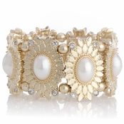 Capri's Imitation Pearl and Rhinestone Flower Stretch Bracelet
