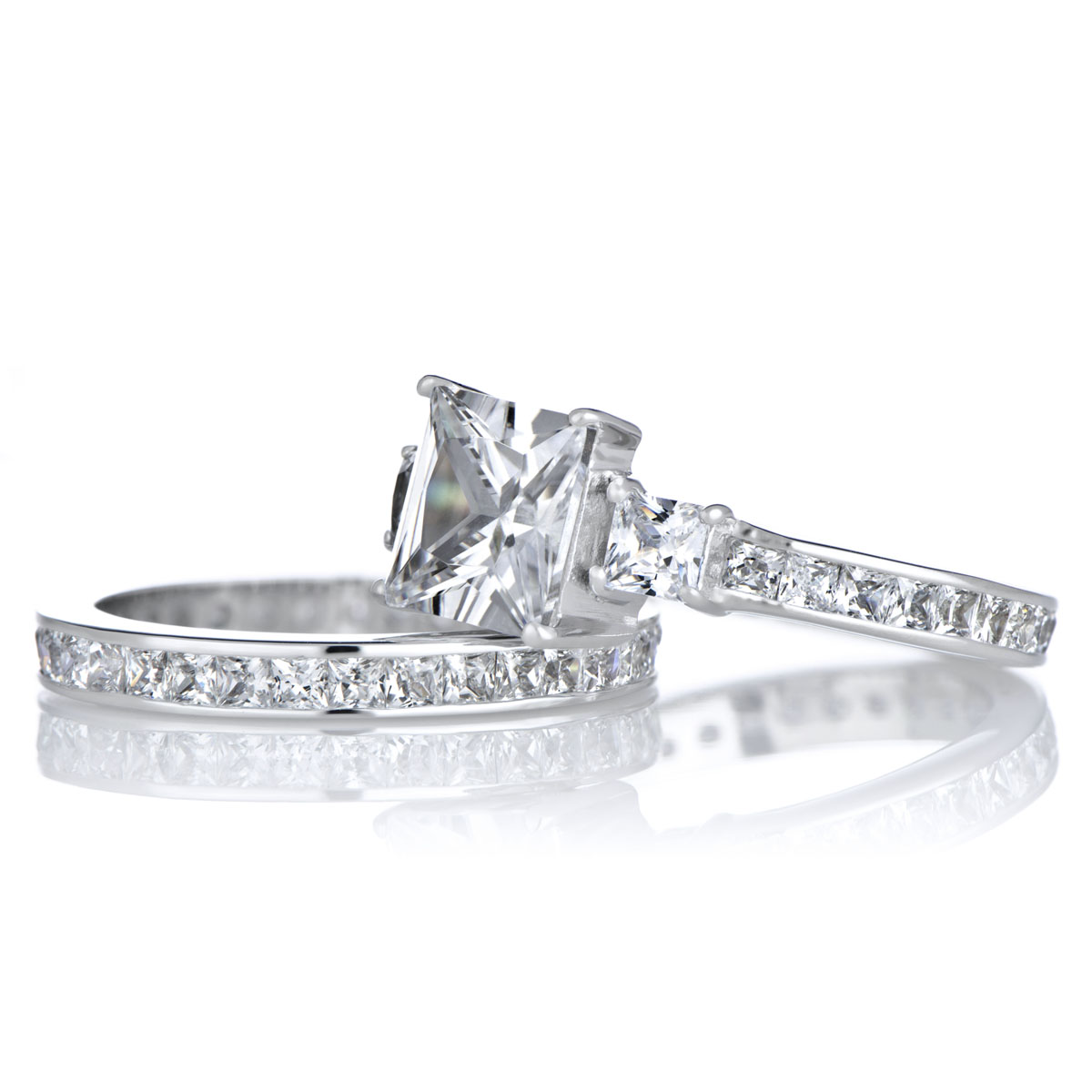 Cara s Engagement Ring Set 2 5 Carat Princess Cut CZ