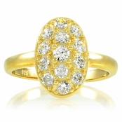 Carleen's Vintage Oval Cubic Zirconia Pave Engagement Ring