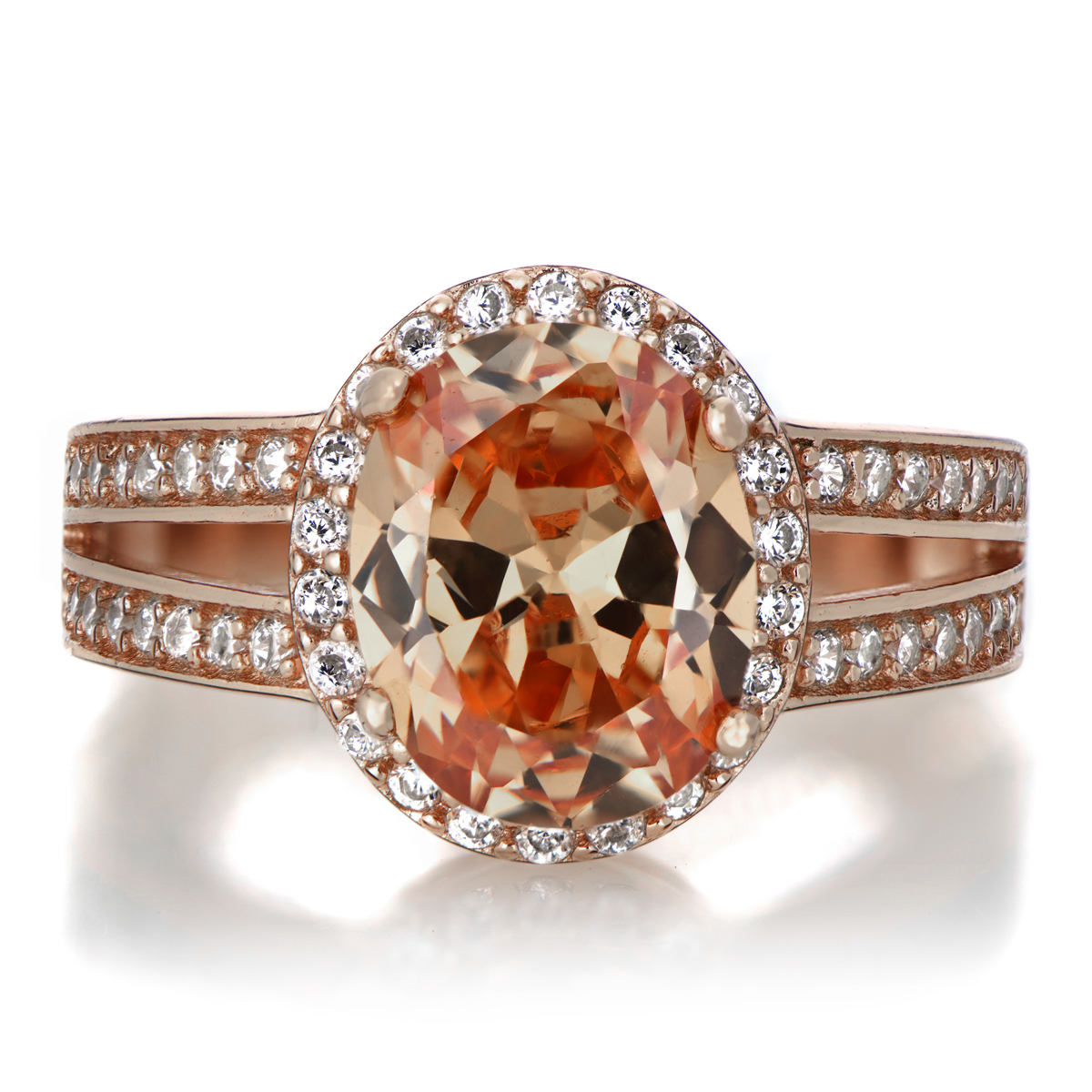 Carly s 2 5ct Rose Goldtone and Oval Champagne CZ Engagement Ring