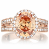 Carly's 2.5ct Rose Gold Tone and Oval Champagne CZ Engagement Ring