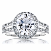 Carly's Oval Cut CZ Halo Engagement Ring