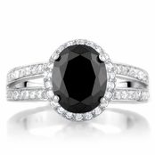 Carly's Black 3 Carat Oval CZ Engagement Ring