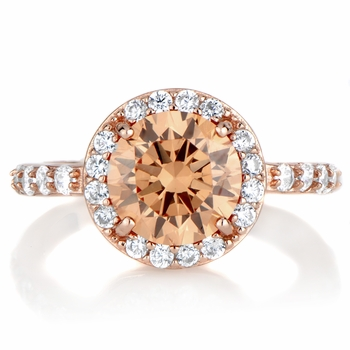 Carrie's 2ct Rose Goldtone and Round Champagne CZ Engagement Ring