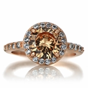 Carrie's 2ct Rose Gold and Round Champagne CZ Engagement Ring