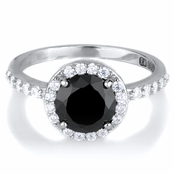 Carrie's Simulated Black Diamond Ring  - Comparable To Sex & the City 2