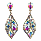 Caspian's Crystal Rhinestone Leaf Evening Earrings
