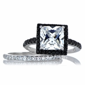 Cassia's Princess Cut Black and White CZ Wedding Ring Set