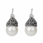 Catalina's Antique Heart Simulated Pearl and Marcasite Earrings