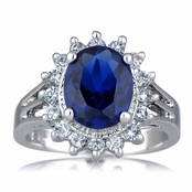 Catherine's Fancy CZ Right Hand Ring - Simulated Sapphire