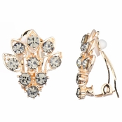 Catriona's Gold Flower Clip-on Earrings - Grey