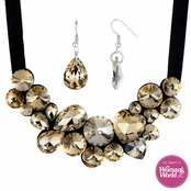 Cecile's Multi Cut Champagne Rhinestone Bib Necklace