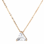 Cecilia's Rose Goldtone Trillion Cut CZ Necklace