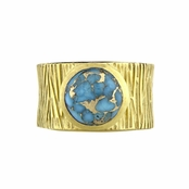 Ceil's Blue Stone Etched Wide Band Fashion Ring
