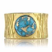 Ceil's Blue Copper Turquoise Etched Wide Band Fashion Ring