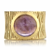 Ceil's Genuine Amethyst Etched Wide Band Fashion Ring