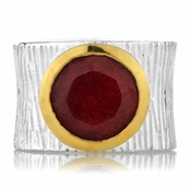 Ceil's Ruby Corundum Etched Wide Band Fashion Ring
