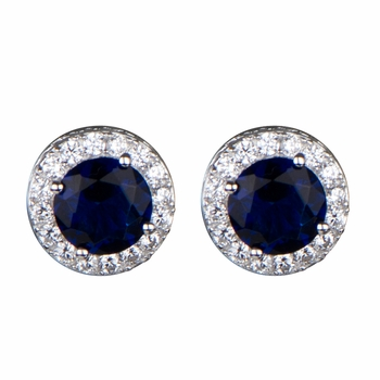 Katie's Blue and Clear CZ Stud Earrings