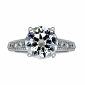 Diva 4 Carat Round Cut CZ Engagement Ring with Pave Band