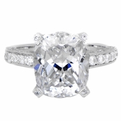 Jen's 5 ct Silvertone and Cushion Cut CZ Engagement Ring