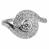 Ann's Silvertone and CZ Spiral Engagement Ring