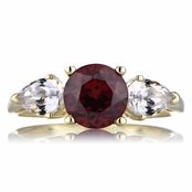 Simulated Ruby and CZ 3 Stone Engagement Ring - Goldtone
