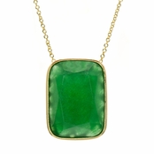 Angie's Green Stone Bezel Set Necklace - 24 Inches