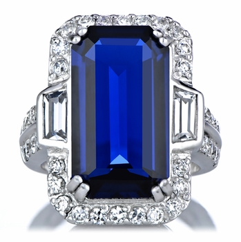 Vivid Blue Emerald Cut 19 Carat CZ Cocktail Ring
