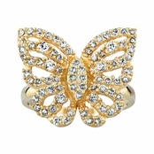 Mimi's Goldtone and CZ Pave Butterfly Cocktail Ring