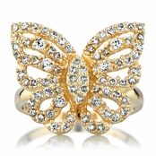 Mimi's Gold Plated and CZ Pave Butterfly Cocktail Ring