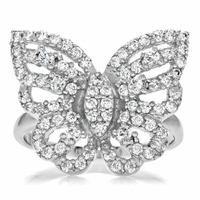 Celebrity Ring - Silver Butterfly CZ Ring
