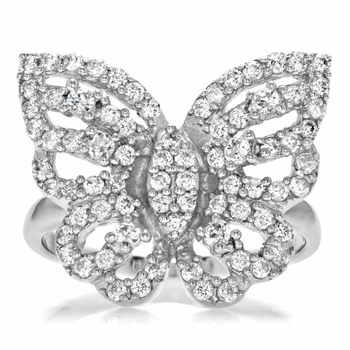Mimi's Silvertone and CZ Pave Butterfly Cocktail Ring