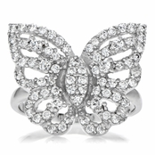Mimi's Sterling Silver and CZ Pave Butterfly Cocktail Ring