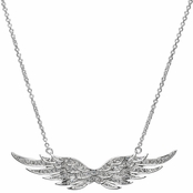 Nicole's Sterling Silver and Simulated Diamond Pave Angel Wing Charm Necklace