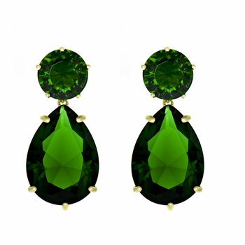 Jo's Green CZ Pear Drop Goldtone Earrings
