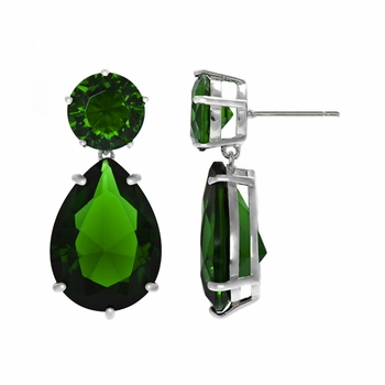 Jen's Pear Drop Green CZ Earrings