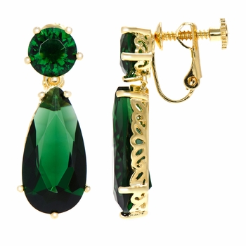 Ang's 25 TCW Simulated Emerald Pear Drop Screwback Earrings - Gold Tone