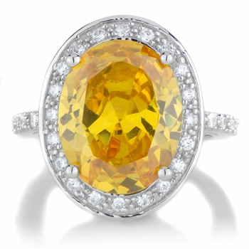Carrie's 8.5 ct Canary CZ Oval Cut Engagement Ring with Halo