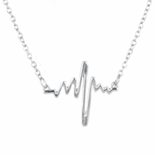 Chandy's Silvertone Heartbeat Necklace